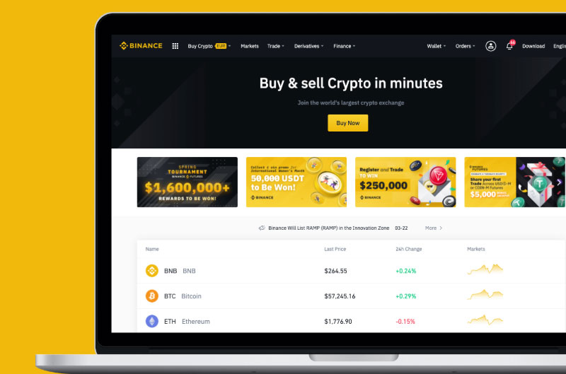 Website von Binance